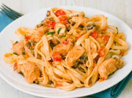 Талятели паста с гъби манатарки, течна сметана, пилешко филе, чери домати и бяло вино - снимка на рецептата